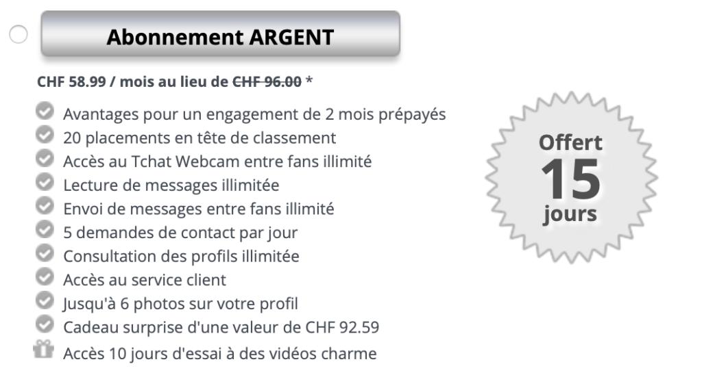 Formule d'abonnement payant (et avantages associés) argent sur Jacquie et Michel