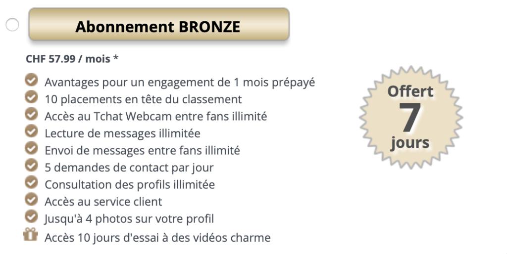 Formule d'abonnement payant (et avantages associés) bronze sur Jacquie et Michel
