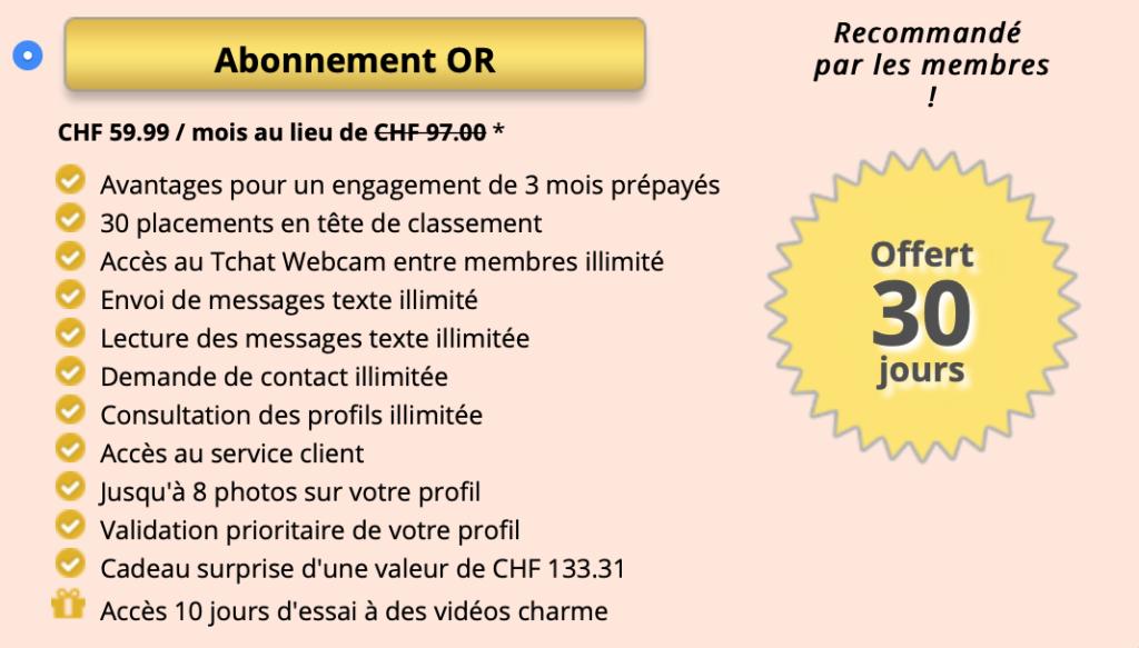 Formule d'abonnement payant (et avantages associés) or sur Jacquie et Michel