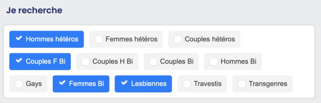 Liste des profils de libertins du site Wyylde